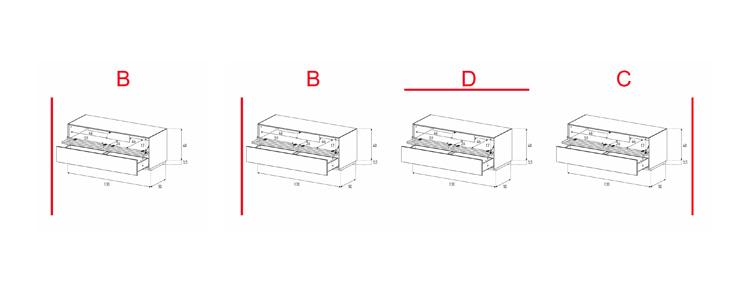 EX12-TD - Lowboard mit Klapptür Textil /Schublade