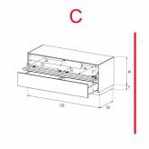 Lowboard Sonorous Elements EX12-TD-C - TV-Möbel mit stoffbezogener Klapp-Tür und Schublade / kombinierbar