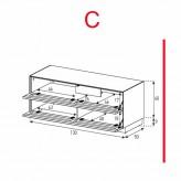 Lowboard Sonorous Elements EX12-TT-C - TV-Möbel mit 2 stoffbezogenen Klapp-Türen / kombinierbar